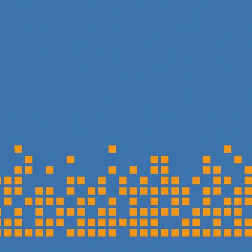 Pixels oranje op blauw