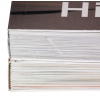Boven: Hotmelt of PUR (visueel geen verschil) - onder: genaaid gebrocheerd plus verlijming (optimale bindkwaliteit)