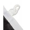 Rondom gezoomd met dubbele naad en aan de lange zijde met versterkte rand incl. lus en karabijn